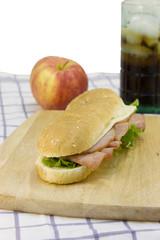 ham sub on cutting board