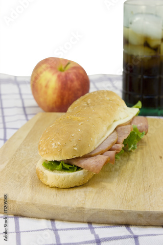 ham sub on cutting board