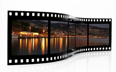 Funchal Waterfront by night film strip