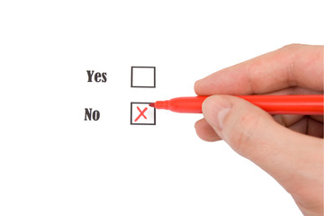Red felt pen and questionnaire