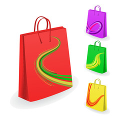 Collection of shopping bags. Vector illustration