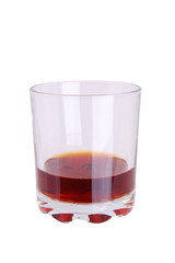Glass of whiskey with  on a white background
