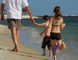 Father and children at beach