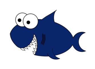 Shark Cartoon - Isolated On White
