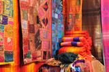Traditional oriental fabrics in Fes, Morocco poster