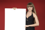 pretty blond with advertising sheet poster