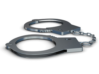 Handcuffs on a white background. Isolated 3D image
