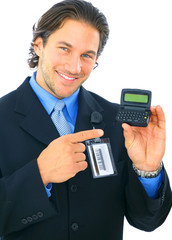 Businessman Pointing At Empty Electronic Pager