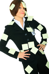 Displeased Businesswoman With Blank Post It