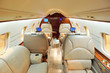Interior of luxurious private airplane