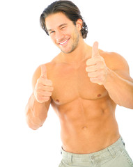 Male Caucasian Wink And Give Thumbs Up