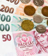 Czech bank notes and coins