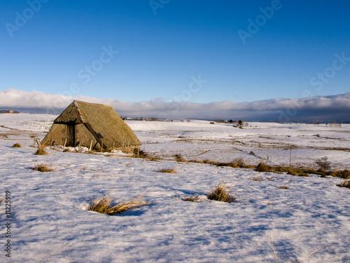 Papiers peints Colline Winter landscape in Auvergne (France)