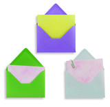 Assorted envelopes on white background, path provided. poster