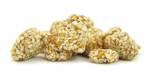 Peanuts with honey and sesame snack food