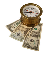 Brass Clock with Money
