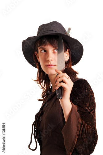 Girl with the knife, isolated on white