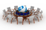 Twelve workplaces behind a round table. 3D image. poster