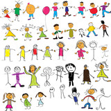 Fototapety Child like vector colour drawings of people
