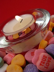 Candle with Valentine Conversation Hearts