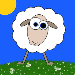 Sheep Cartoon Standing In Field