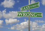 Street Signs With Easy Street and Wrong Way poster