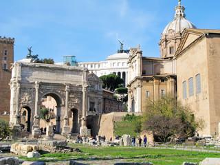 Arch of Septimius Severus in Rome, Italy.