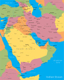 Vector map of Middle East countries poster