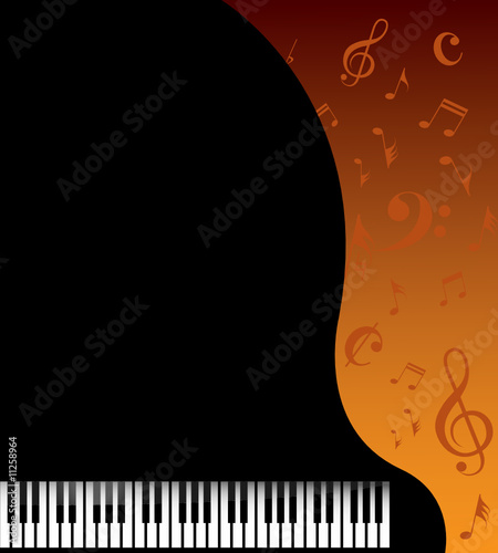 Piano music background with copy space