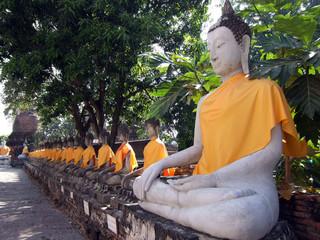 Wat Yai Chai Mongkol Buddhas in Thailand.