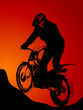 roleta: Silhouette of motobiker in the sunset