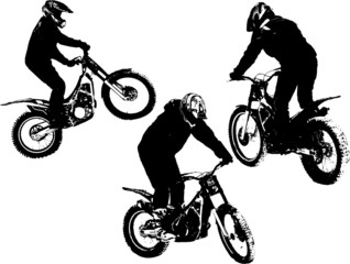Vector silhouettes of three motobikers