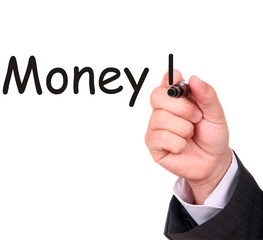 Businessman hand drawing word MONEY