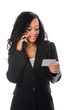 Businesswoman With Cell Phone And Card
