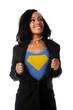 Businesswoman Dressed as Super Hero