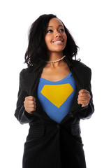 Businesswoman Dressed as Super Hero