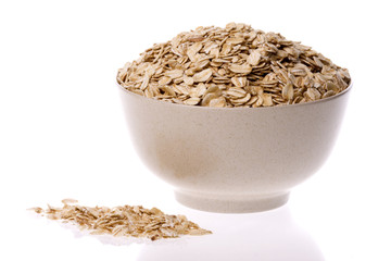 Oats in Bowl Isolated