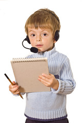 Hispanic customer service operator.