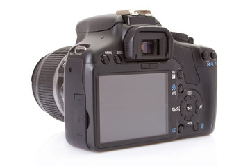 Back of a digital slr isolated on a white background..
