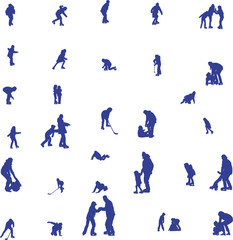 children ice-skating, vector silhouettes collection
