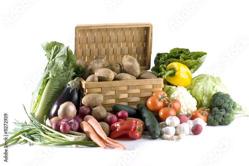 Huge diversity of fresh vegetables on white background