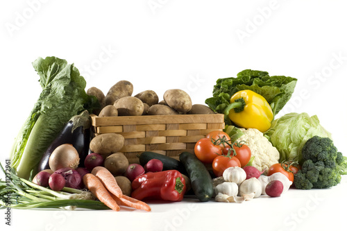 Huge variety of vegetables on white background