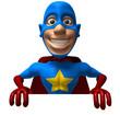 Superhero avec un panneau blanc
