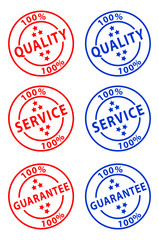 100% Quality/Service/Guarantee Stamps Poster