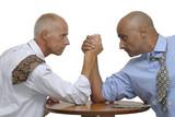 Two businessmen arm wrestling poster