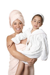Mother and child after bath