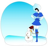 Beautiful Snow Maiden and comical snowball poster