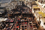 The medieval traditional tanneries of Fes Morocco poster