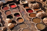 Leather tanning in Fes, Morocco poster