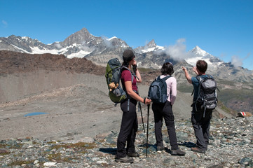 group of hikers enjoying beautiful view.